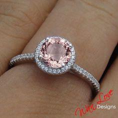 My dream right hand ring! Morganite & Diamond Round Halo ring...