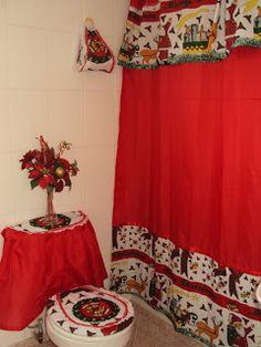 Creaciones Maria Silvia: Cortinas de Navidad Bathroom Crafts, Bathroom Sets, Diy Curtains, Vintage Christmas, Christmas Decorations, Design, Home Decor, Sewing Ideas, Sewing Projects