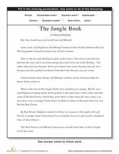 Worksheets: Practice Punctuation with the Jungle Book