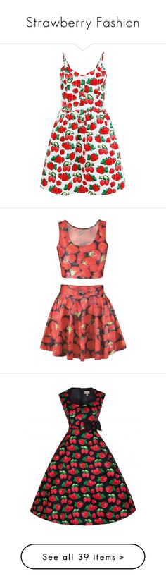 """Strawberry Fashion"" by trendpixie ❤ liked on Polyvore featuring dresses, robes, vestidos, strappy dress, cutie dresses, red dress, fit and flare summer dresses, red fit and flare dress, outfits and skirts"