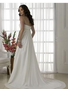 Strapless Rouched Bodice with A line Skirt and Chapel Train 2010 Wedding Dress WD-0016