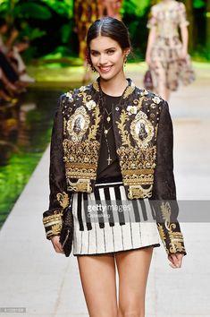 Model Sara Sampaio walks the runway at the Dolce & Gabbana Spring Summer 2017 fashion show during Milan Fashion Week on September 25, 2016 in Milan, Italy.