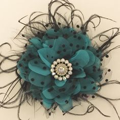 Fall Wedding Bridal Teal Feather Fascinator  By Fancy Girl BoutiqueNYC