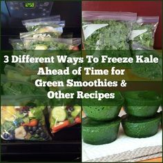 3 ways to freeze kale ahead of time for green smoothies and other recipes > Freeze kale in plastic bags. Freeze kale as part of smoothie kits. Purée kale and freeze in ice cubes. Juice Smoothie, Smoothie Drinks, Fruit Smoothies, Healthy Smoothies, Healthy Drinks, Smoothie Recipes, Healthy Snacks, Healthy Recipes, Smoothie Prep