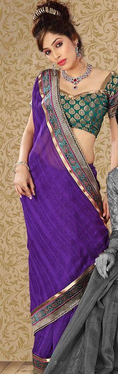 $47.75 Purple Art Silk Embroidered Saree 22747