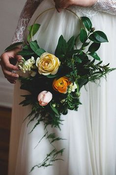 Hoop Bouquets featuring a cluster of Garden Roses, Tulips, & Ranunculi framed by Wispy Ferns Bridal Flowers Bouquet Wedding Florals Wedding Bride, Floral Wedding, Dream Wedding, Wedding Story, Bouquet Wedding, Wedding Blog, Wedding Decor, Wedding Ceremony, Deco Floral