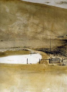 A Cat's Eye View: Andrew Wyeth: A new year and new art Andrew Wyeth Paintings, Andrew Wyeth Art, Jamie Wyeth, Watercolor Landscape, Abstract Landscape, Landscape Paintings, Watercolor Paintings, Nc Wyeth, Illustration