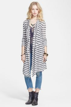 Free People Forget Me Not Drape Front Stripe Cardigan