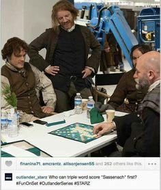 Jamie & Dougal playing Scrabble