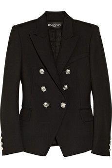 Balmain | Double-breasted wool-blend blazer | NET-A-PORTER.COM
