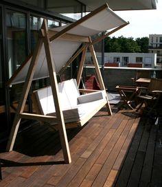Trend Moderner Garten Bilder Pool Hollywoodschaukel aus Holz