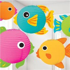 Fish Paper Lanterns Set the stage for a great summer party or luau with these beautiful paper wire frame fish lanterns that are perfect as hanging decorations Package includes 5 fish lanterns that measure 5 7 and Fish Lanterns, Paper Lanterns, Under The Sea Theme, Under The Sea Party, Noahs Ark Theme, Hawaiian Party Decorations, Paper Fish, Ocean Party, Luau Party