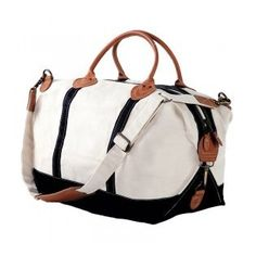 """This Monogrammed Canvas Weekender Duffel Bag with Navy & White is so gorgeous! This is so classy, and personalized just for you - we just love the leather handles! Its stylish yet totally practical and usable! Its perfect for quick trips, overnight stays, and any time you need haul around some goodies. Size is a nice, perfect size:  15""""x28""""x10""""  Whether you're off on business, visiting family and friends for the weekend, or headed off to college in need of a large accommodatin..."""