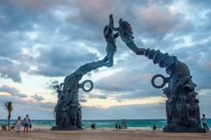 Playa Del Carmen, Mexico. This fantastic sculpture is on the beach, North of the ferry terminal for Cozumel.