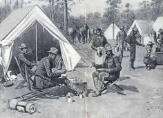 9th Calvary in Tampa, FL 1898 Spanish American war camp from Harper's Weekly