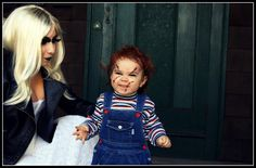 Chucky and Bride Halloween costume and makeup