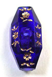Antique-Glass-Whistle-Button-Cobalt-Blue-Spindle-w-Gold-Luster-Floral-Design
