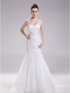 Gorgeous A-Line V-Neck Tulle and Lace Chapel Train Beach Wedding Dress