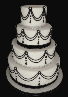 Black & White Wedding Cake by Cakes Just 4 U.