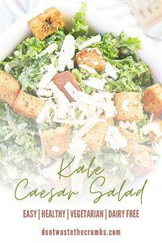 Try this easy Kale Caesar Salad recipe that is super versatile with vegetarian and dairy-free options! This healthy vegan kale Caesar Salad and Caesar dressing is a dish rich in nutrients and easy to prepare every season. This Kale Caesar Salad is an amazing and perfect salad recipe for dinner or quick lunch. #vegetarian #salad #caesarsalad #kalecaesarsalad Salad Recipes For Dinner, Healthy Salad Recipes, Lunch Recipes, Real Food Recipes, Healthy Snacks, Vegetarian Salad, Vegetarian Appetizers, Vegetarian Recipes Easy, Homemade Caesar Salad Dressing