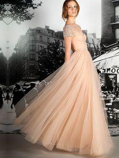 A-line Off-the-shoulder Tulle Floor-length Beading Prom Dresses Shop uk