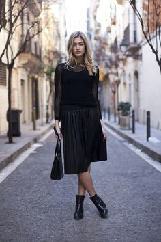 boat neck sweater · studio fine pleat skirt
