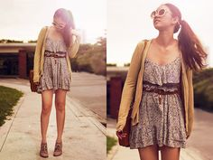Floral Dress, Romwe Round Sunnies, So Fab Suede Booties