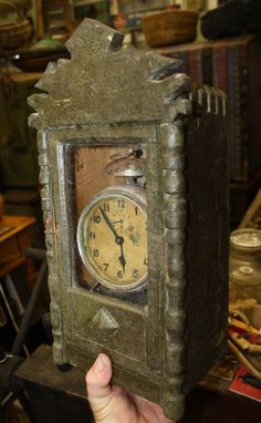 Primitive Antique Wooden Clock Box in Old by CountrysideAntiques, $125.00