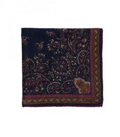 Navy Victorian Garden Print Wool and Silk Pocket Square