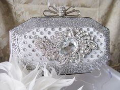 Silver Studded Fabric Wedding Bag Clutch by weddingswithflair, $68.00