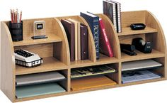 Safco Radius Front 12 Compartment Desktop Organizer Medium Oak ~ $101.99 at engineer.com