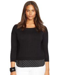 Lauren Ralph Lauren Plus Size Crew-Neck Layered Sweater