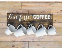 But First Coffee Mug Display // Coffee Mug Display // Coffee Mug // Mug Display // But First, Coffee // Reclaimed Wood Coffee Display