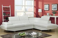 Connor Contemporary White Wood PU Metal Sectional Sofa