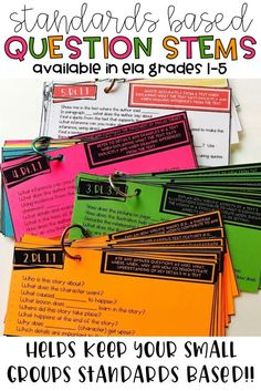 The new standards are complication and it can be difficult to ensure we're asking questions that reach the depth of the standard. These question stem cards make it EASY to ask appropriate questions for each standard. Use them during small group discussion or even when creating an assessment! They're available for all ELA standards grades 1-5.