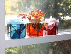 Blue Stained Glass Jar Candle Holder, Blue Mosaic Candle Holder Jar/Vase