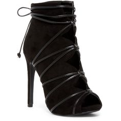 Legend Footwear Evelyn Cutout Bootie found on Polyvore featuring shoes, boots, ankle booties, ankle boots, black, shoes boots, peep toe bootie, black bootie, peep-toe booties and peep toe booties