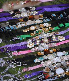Rosa collar del RHINESTONE de BLING para mascotas por Grotto333