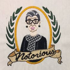 Notorious RBG Machine Embroidery Design 4x4