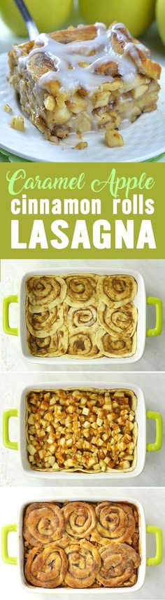 Caramel Apple Cinnamon Roll Lasagna is fun and delicious combo of classic caramel apple pie and yummy cinnamon rolls. This awesome fall treat is delicious dessert, but it is great idea for easy breakfast casserole, too. Cinnamon Roll Apple Pie, Cinnamon Roll Recipes, Cinnamon Roll Cupcakes, Cinnamon Roll Muffins, Caramel Apple Recipes, Apple Baking Recipes, Easy Cinnamon Rolls, Easy Apple Pie Recipe, Pie Crust Cinnamon Rolls