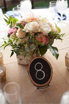 romantic yet rustic pink and white reception wedding flowers,  short vase