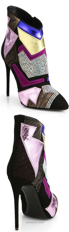 Giuseppe Zanotti Patches Mixed Media Ankle Boots