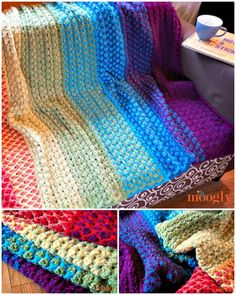 Free Crochet Rainbow Moroccan Tile Afghan Pattern