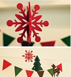 Decoración de Navidad. Copitos rojos en Fieltro. Faro de Luna