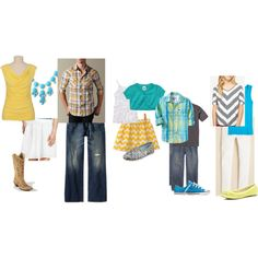 Love the graphic details and the fresh and bright colors- Such a happy style. Family Picture outfit color ideas