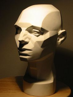 M1::  light on an Asaro head cast. Notice how changes in the light effect directly correlate with the sculpted plane changes