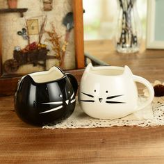 Lovely cat design ceramic mug black and white lovers ceramic cups breakfast coffee cup milk mug 400~500ml
