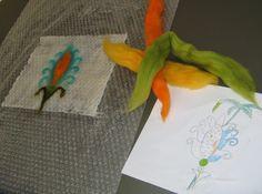 Lãs e sabão no Museu Machado de Castro - Dia 1, escolha de cores e execução do trabalho