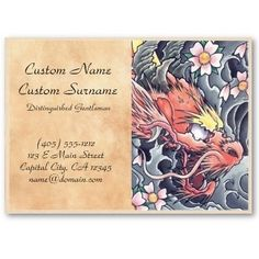 SOLD! x 3 $25.50 Cool oriental japanese dragon god tattoo business card template | tattoos picture tattoo business cards