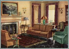 This 1929 linoleum ad was published in American Home magazine. Lots of warm, soothing neutrals grounded with a dark marbleized linoleum. Easy to update and reproduce.